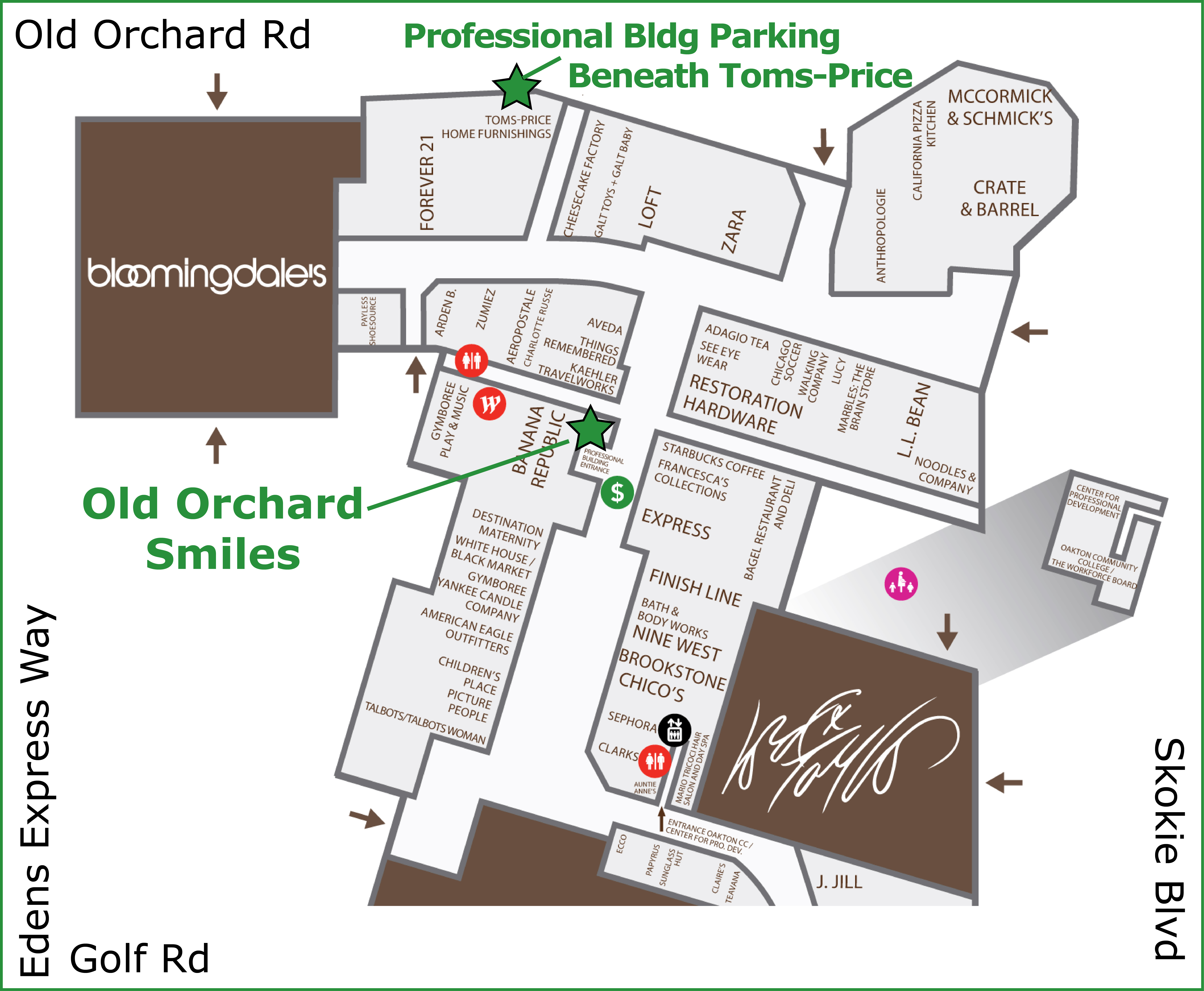 Old Orchard Map Old Orchard Smiles :: Contact Us and Location